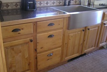 Knaughty Pine / A vintage 1954 kitchen with original knotty pine cabinets and Formica countertop.  What to do...? / by Gretchen Pendleton