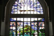 Stained Glass - Religious / Custom stained glass designs fabricated for Zion Lutheran Church.