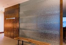 Vertical Applications:  Walls, Windows, Dividers, etc. / Our kiln-formed glass can delineate space, provide diffusion for privacy and provide a subtle or bold focal point without sacrificing light