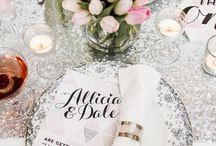 Styled Shoot: Glitter Wedding & Stationery Inspiration / This wedding photoshoot is inspired by all things glitter. A sprinkle of glitter on pink and green hues made them dazzle! We loved dressing up our 'Modern Love' wedding stationery with a little sparkle.  Credits: My Vintage Flower // Amanda French Flowers // Eleanor Jane Photography //