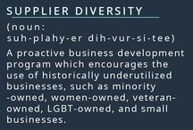 Supplier Diversity / Expanding your reach. Helping local businesses. Connecting new people. Supplier Diversity pushes the use of the historically underutilized businesses. We want to strengthen every area of your business. By working with us, you gain a diverse supplier.