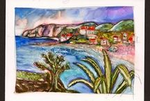 Italian Landscape and Seascape Paintings by Celesa Lucien / Romantic Italian Scenic Vacation, watercolor art, small paintings, watercolor painting, italian coast, Amalfi coast paintings, italian coastal paintings,watercolor