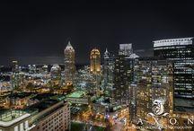 Atlanta City Skyline / Photography of the Atlanta City skyline with people