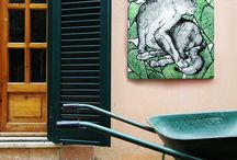 Sharon Moran Art (Wall Art) / Wall Art - Interior design and gift ideas - Canvas Art - Contemporary Art - Cheap Shipping.    PURCHASE AT: https://www.etsy.com/shop/SharonMoranArt  Description: Colorful wall art, paintings made at my home, an Italian villa in Rome (canvas art).  Materials: Black Gloss Paint, Indian Ink, acrylic, canvas