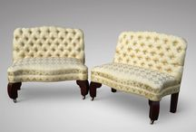 Antique Seating / A collection of antique chairs, stools and pews that add individuality to an interior scheme.