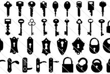 Lock Vector Silhouette / A silhouettes set of keys, keyhole and locks. Designing a retro or old fashioned design need some keys and locks then this is a perfect match.