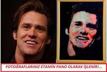 Jim Carrey cross stitch etamin işleme pano