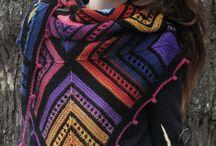 вязаный пэчворк шали, накидки, шарфы