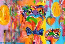 Schilderijen Struisvogels/Ostriches Kunstenares  Mir Mirthe Kolkman / Veelzijdig kleurrijk kunstenares Mi/ Mirthe Kolkman schildert o.a struisvogels . kunst art vogels dieren struisvogels grappige struisvogel funny ostriches kleurrijke kunstwerken colourful artworks artist mireieren eggs  #snoeshanen #stuisvogels #kleurrijk #kleur #kunstenaresmir #mirthekolkman