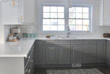 two tone grey and white kitchen cabinets