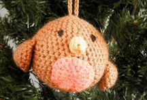 crochet amigurumi Christmas tree robin bird bauble ornament decoration