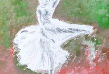 Une magnifique danse... / Huile sur toile - 70 cm x 50 cm.