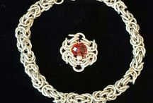 Silver chainmaille jewerly / bracelet and romanov flower pendant.