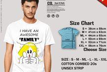 Line Shirt / Tshirt dengan cetakan berbagai karakter Line