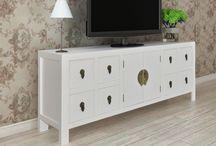 Vintage Wooden Sideboard White