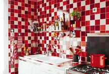 Red & White #tilespiration / In honour of St George's day 2014, we've created a special board with all our favourite red and white tile looks!