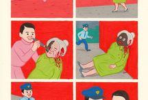 Joan Cornella / 홍콩 잡지에서 카툰을 연재하고 있는 바르셀로나계 미술가. 현대사회의 문제점들을 동화같은 그림체와 색감을 통해 잔인하게 묘사함으로써 불쾌감과 부조화를 일으킨다. 어떤 작품들은 너무 난해해서 해석이 어려운 것도 있다.
