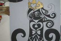 XL - rabiscos / #art #arte #acrílico #acrylic #madeira #wood #penaenanquim #nanquim #gravura #parede #spray #personagem #rabiscos #rabisco #idéias