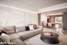 Neoclassical-新古典風 / 家具強調細長線條,同時注重生活機能性;織品形式多元,包含素色、格紋、花朵圖案等,以混合搭配方式呈現。
