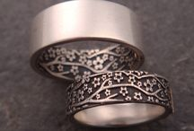 Silver rings and wedding band