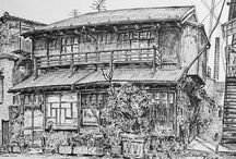 Itsuo Kiritani / Pen and Ink Drawings on Paper of Nostaligic Tokyo streets - all drawn on location.