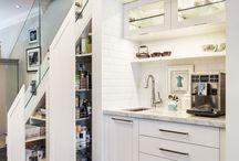 Kitchen storage under stairs