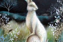 Hares ............. and rabbits / Historically the Hare is a symbol of many things, all involving balance, Life, creative potency, regeneration, fertility, and eternity. This board consists of hares as illustrations, art forms and real life pictures