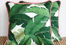 tropical leaves exotic flowers pillow