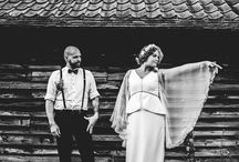 Rock n Roll Wedding / A beautiful bride with gorgeous tattoos and red hair, wearing a vintage wedding dress