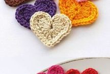 Crochet bows and hearts
