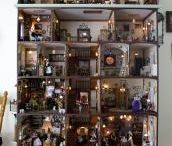 Doll houses / Playing with the idea of making one big doll house myself, very detailed in a cupboard /cabinet with doors, which make the front wall, facade, with electricity, with stairs....