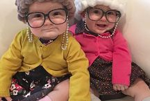 Babies dressed like grannies