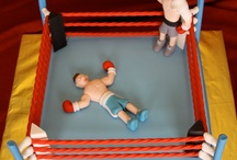 Boxing figures and cakes.