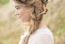 Wedding hairstyle and flower crown