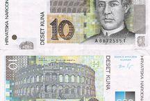 Billets Croatie / Les billets Croatie en circulation sont : 5, 10, 20, 50, 100, 200, 500, 1000 kunas.'Kuna' en croate veut dire 'martre', c'est ce petit animal qui a été choisit comme symbole de la monnaie croate en souvenir d'une époque ou l'on payait en peau de martre.