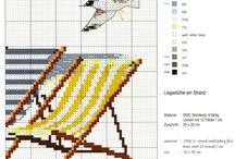 yaz-deniz kanavice sablonlari / summer -sea cross stitch crafts