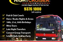 Nightcruiser Party Tours - Perth, Western Australia / Perth's famous Party Bus and Leisure Tours. Why choose Nightcruiser - That's Simple!! ● $100 gift voucher  ● FREE booked VIP entry Clubs/Pubs ● Exclusive Venue deals list ● Best Tour Advice - One call and you're SORTED! ● Affordable and professional Party Bus Hire ● Discounted deals ● Powerhouse sound systems ● Disco Party Lights ● Largest Fleet ● 21, 30, 45 and 70 seaters ● 98% reliability record - Important! Don't be stranded http://www.nightcruiser.com.au/wa/perth/index.html