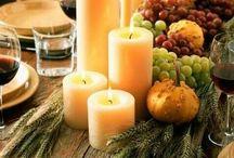 wooden centerpiece - rusztikus adventi, karácsonyi asztalközép, asztaldísz / Természetes anyagokból készült ünnepi asztalközép őszre, adventre
