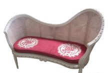 Shabby Love Seat with Rattan Back - Bangku sofa shabby chic vintage jepara