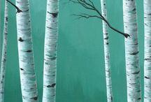 birch tree paintings
