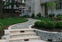 stone accents front yard