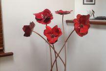 Copper enamel poppies