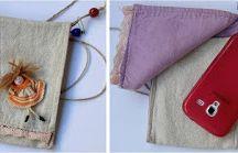 Çantalar / El yapımı- cep telefonu çantası-omuz çantası