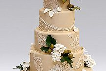 Champagne and Taupe Wedding Cakes