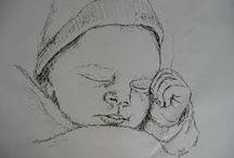 mensen en baby's tekenen