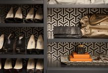 Chic Closets / closets, dressing rooms, shoe shelving, storage, closet lighting, wallpapered closets, jewelry storage / by Emily Ruddo