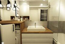 łazienka black chrom drewno