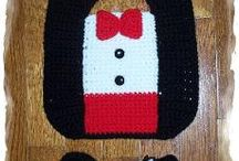 Baby Costumes and Funny Bibs / Silly crocheted bibs, booties and hats / by Sharon Santorum