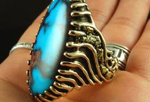 Men's Gold Turquoise Rings / We make some of the most unusual Men's Gold and Turquoise Rings coming out of the American Southwest today! Bold, substantial weight and spectacular high grade Turquoise!