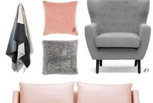 blush and grey living room